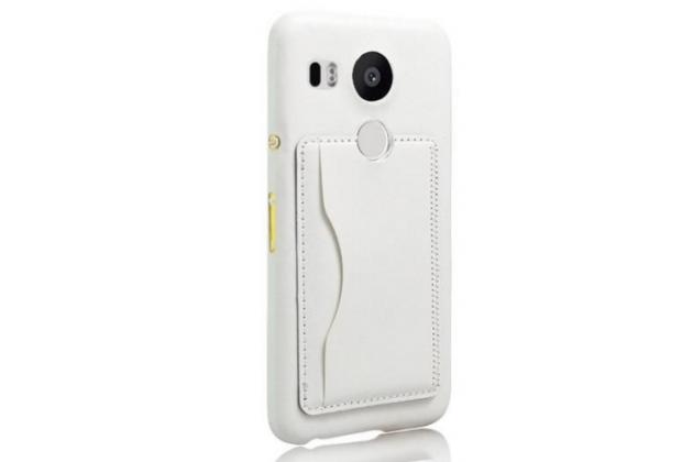 Роскошная элитная премиальная задняя панель-крышка для lg google nexus 5x из качественной кожи буйвола с визитницей белая