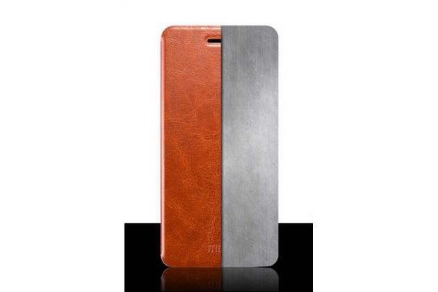 """Чехол-книжка из качественной водоотталкивающей импортной кожи на жёсткой металлической основе для lg google nexus 5x 5.2"""" коричневый"""