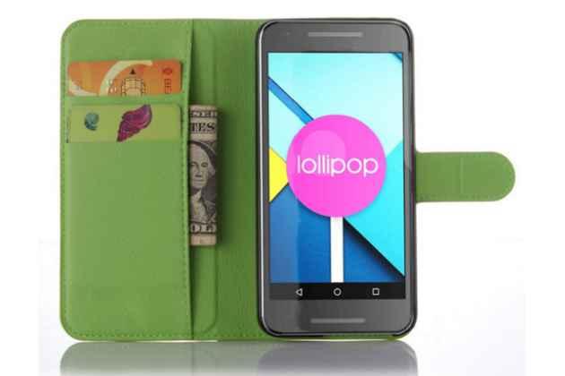 Чехол-книжка из качественной импортной кожи с мульти-подставкой застёжкой и визитницей для lg google nexus 5x зелёный