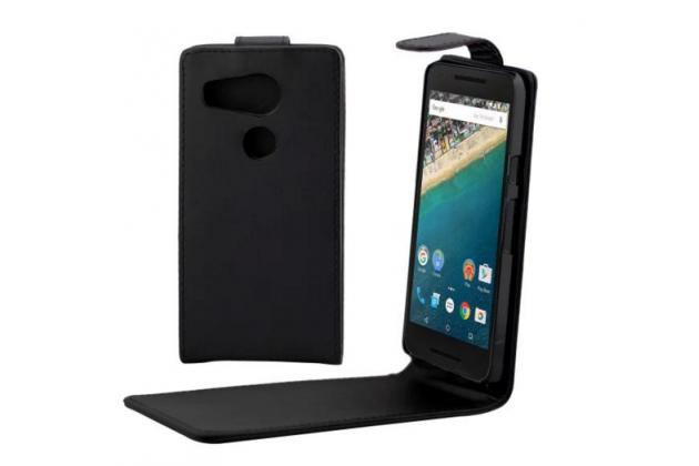"""Вертикальный откидной чехол-флип для lg google nexus 5x  черный из натуральной кожи """"prestige"""" италия"""