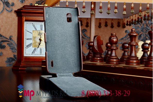 Вертикальный откидной чехол-флип для lg google nexus 4 e960 коричневый кожаный