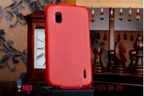 Вертикальный откидной чехол-флип для lg google nexus 4 e960 красный кожаный