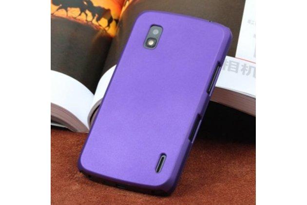 Ультра-тонкая полимерная из мягкого качественного силикона задняя панель-чехол-накладка для lg google nexus 4 e960 фиолетовая