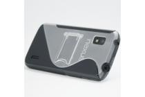 Ультра-тонкая полимерная из мягкого качественного силикона задняя панель-чехол-накладка для lg google nexus 4 e960 черная с подставкой
