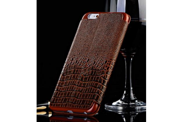 Роскошный эксклюзивный чехол с объёмным 3d изображением рельефа кожи крокодила коричневый для blackberry z3 . только в нашем магазине. количество ограничено