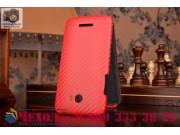 Фирменный вертикальный откидной чехол-флип для HTC Butterfly X920E красный кожаный..
