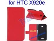 Фирменный чехол-книжка с подставкой для HTC Butterfly X920E красный..