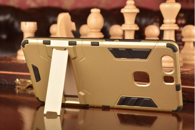 """Противоударный усиленный ударопрочный чехол-бампер-пенал для huawei p9 + plus (vie-al10 ) 5.5"""" золотой"""