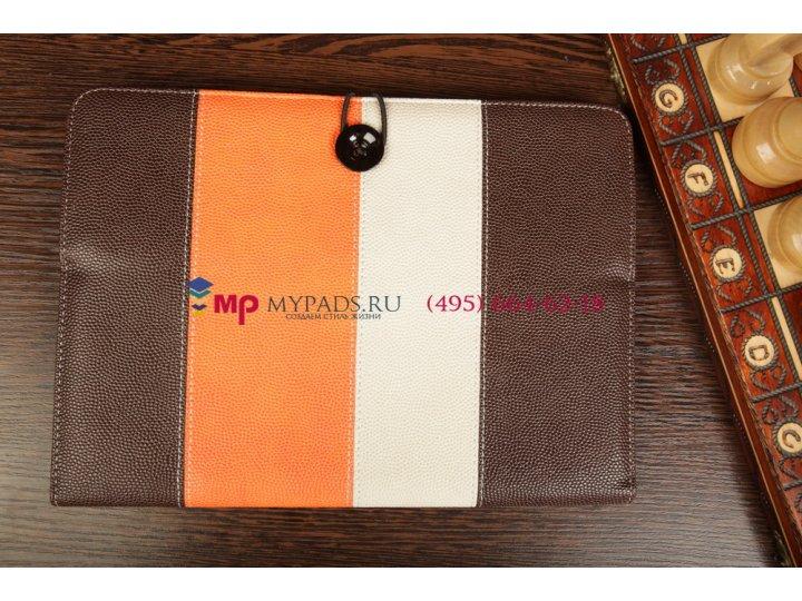 Чехол-обложка для iconbit nettab space коричневый с оранжевой полосой кожаный..