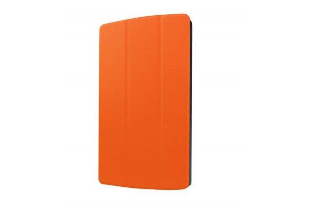 """Умный чехол-книжка самый тонкий в мире для lg g pad x 8.3 (vk815) """"il sottile"""" оранжевый кожаный"""