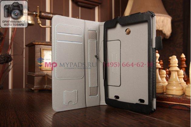 """Чехол бизнес класса для lg g pad 7.0 v400 с визитницей и держателем для руки черный натуральная кожа """"prestige"""" италия"""