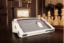 """Чехол бизнес класса для lg g pad 7.0 v400  7"""" с визитницей и держателем для руки белый натуральная кожа """"prestige"""" италия"""