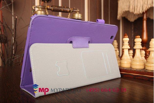 """Чехол бизнес класса для lg g pad 10.1 v700 с визитницей и держателем для руки фиолетовый натуральная кожа """"prestige"""" италия"""