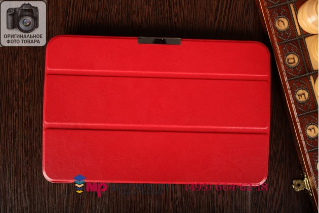 """Умный чехол-книжка самый тонкий в мире для lg g pad 10.1 v700 """"il sottile"""" красный кожаный италия"""