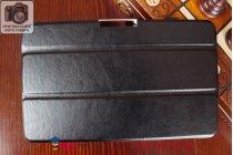 """Умный чехол-книжка самый тонкий в мире для lg g pad 8.0 v480/v490 """"il sottile"""" черный кожаный италия"""