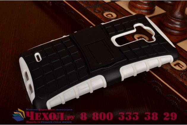 Противоударный усиленный ударопрочный чехол-бампер-пенал для lg g flex 2 белый