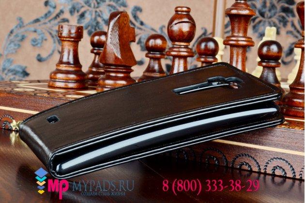 """Вертикальный откидной чехол-флип для lg g flex 2 (h959) черный кожаный """"prestige"""" италия"""