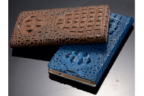 Роскошный эксклюзивный чехол с объёмным 3d изображением рельефа кожи крокодила синий для  lg g3 s mini d724/d722 . только в нашем магазине. количество ограничено