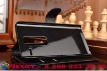 """Чехол-книжка из качественной импортной кожи с подставкой застёжкой и визитницей для лджи класс н740/ н650е 5.0"""" черный"""
