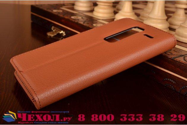 """Чехол-книжка из качественной импортной кожи с подставкой застёжкой и визитницей для лджи класс н740/ н650е 5.0"""" коричневый"""