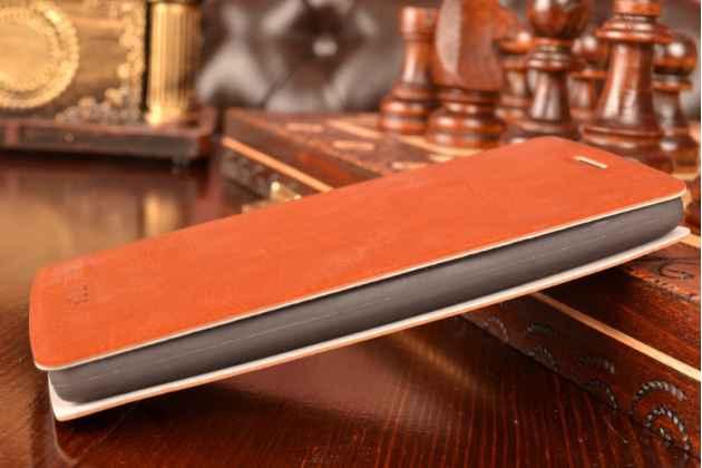 Чехол-книжка из качественной водоотталкивающей импортной кожи на жёсткой металлической основе для lg g3 mini коричневый