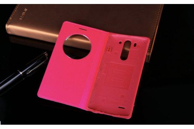 Чехол-книжка для lg g3 s mini d724/d722 розовый кожаный с окошком для входящих вызовов