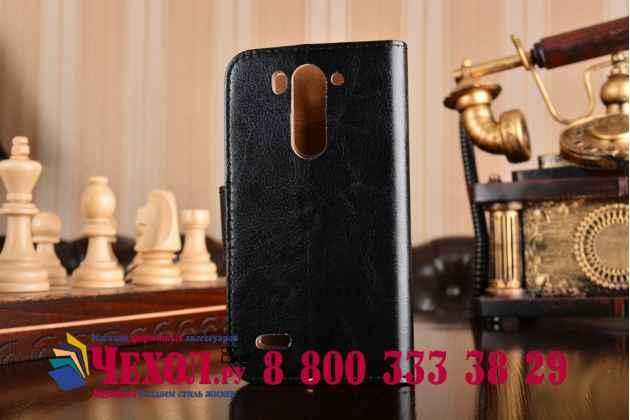 Чехол-книжка из качественной импортной кожи с мульти-подставкой застёжкой и визитницей для лджи лг джи 3 мини черный