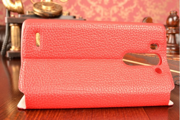 Чехол-книжка для lg g3 s mini d724/d722 красный кожаный с окошком для входящих вызовов