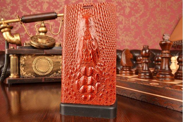 Роскошный эксклюзивный чехол с объёмным 3d изображением кожи крокодила коричневый для lg g3s mini d724/d722 . только в нашем магазине. количество ограничено