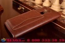 Роскошная элитная премиальная задняя панель-крышка для lg g4 stylus h540f / h635a / ls770  из качественной кожи буйвола с визитницей коричневая