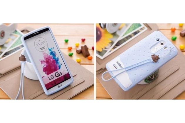 """Необычная уникальная полимерная мягкая задняя панель-чехол-накладка для lg g4 stylus h540f / h635a / ls770  """"тематика андроид в черничном  шоколаде"""""""