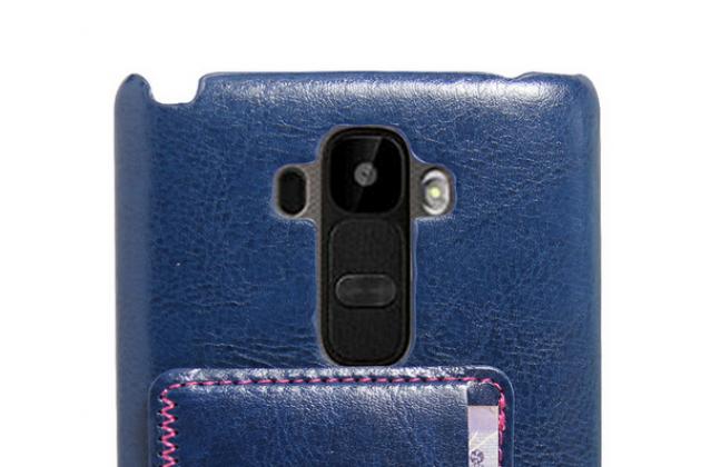 Роскошная элитная премиальная задняя панель-крышка для lg g4 stylus h540f / h635a / ls770 из качественной кожи буйвола с визитницей синяя