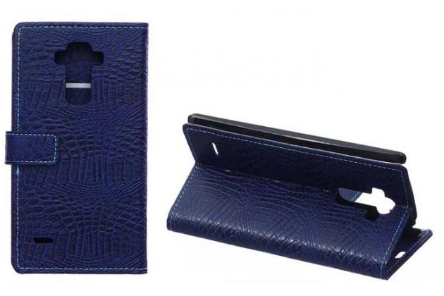 Чехол-книжка с подставкой для lg g4 stylus h540f / h635a / ls770 лаковая кожа крокодила цвет фиолетовый