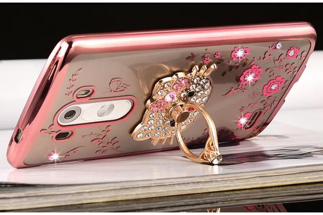 """Роскошная элитная силиконовая задняя панель-накладка украшенная стразами кристалликами декорированная элементами и подставкой для lg g4 """"тематика цветущая сакура"""""""