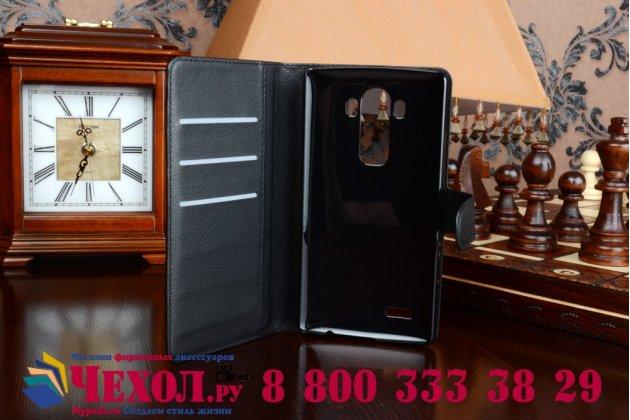 Чехол-книжка из качественной импортной кожи с мульти-подставкой застёжкой и визитницей для lg g4 черный