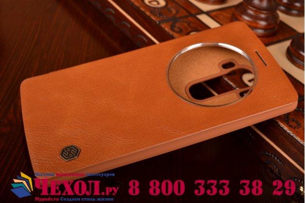 Чехол-кейс из импортной кожи quick circle для lg g4 с умным окном коричневый