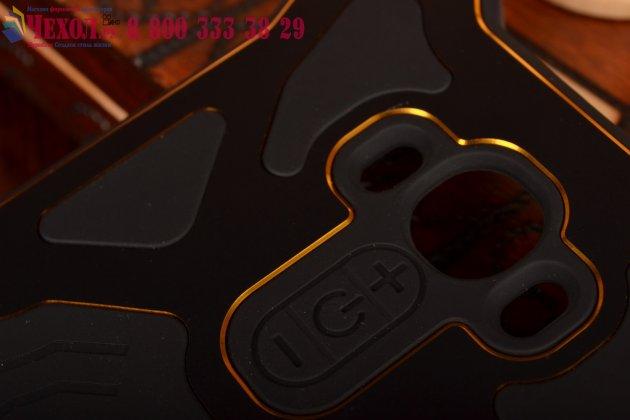 Противоударный усиленный ударопрочный чехол-бампер на металлической основе для lg g4 черного цвета