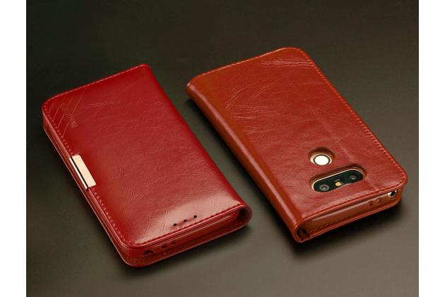 """Чехол-портмоне-клатч-кошелек на силиконовой основе из цельного куска кожи с металлической застёжкой для lg g5 se h845 / h860n / h850 5.3"""" красный"""