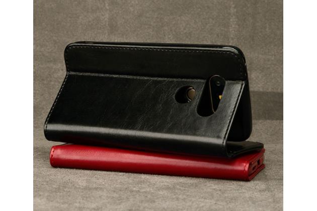 """Чехол-портмоне-клатч-кошелек на силиконовой основе из цельного куска кожи с металлической застёжкой для lg g5 se h845 / h860n / h850 5.3"""" черный"""
