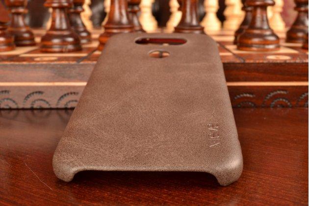 """Премиальная элитная крышка-накладка из тончайшего прочного пластика и качественной импортной кожи  для lg g5 se h845 / h860n / h850 5.3""""  """"ретро под старину"""" коричневая"""