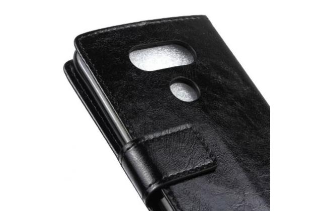 """Чехол-книжка для lg g5 se h845 / h860n / h850 5.3"""" с визитницей и мультиподставкой черный кожаный"""