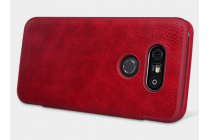 """Чехол-книжка для lg g5 se h845 / h860n / h850 5.3"""" красный кожаный с окошком для входящих вызовов"""