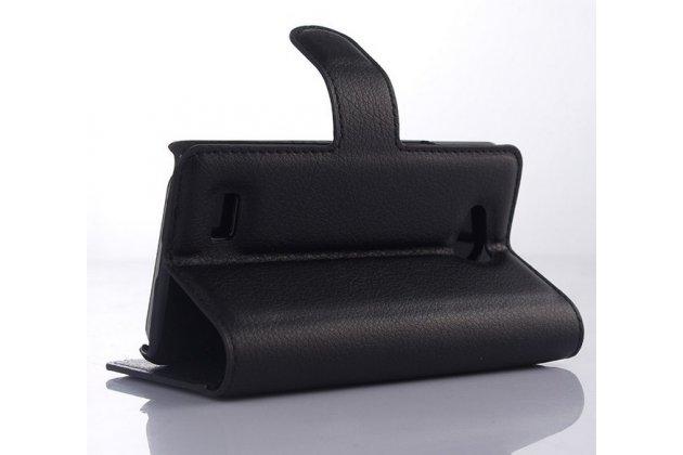 Чехол-книжка из качественной импортной кожи с мульти-подставкой застёжкой и визитницей для лджи джой н220 черный