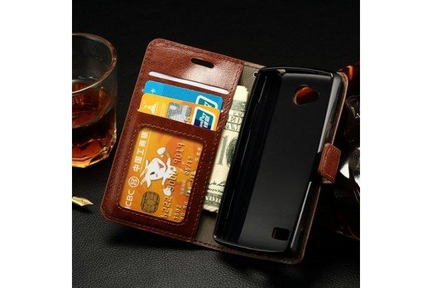Чехол-книжка из качественной импортной кожи с мульти-подставкой застёжкой и визитницей для лджи джой н220 коричневый