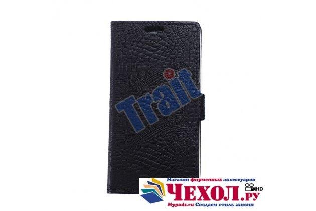 Чехол-книжка с подставкой для lg joy h220n лаковая кожа крокодила цвет черный