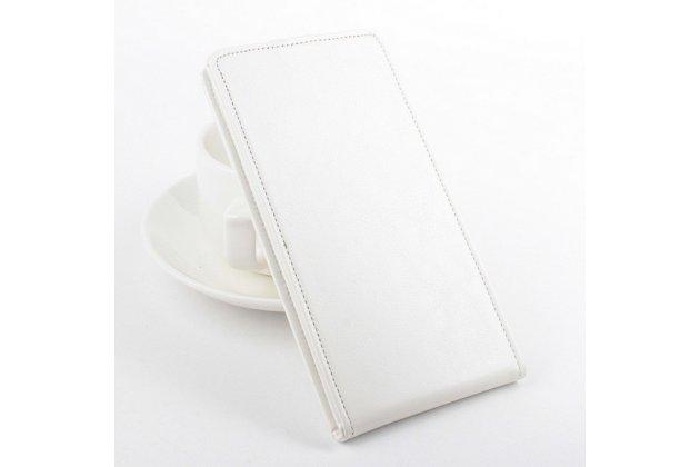 """Вертикальный откидной чехол-флип для lg joy h220n белый кожаный """"prestige"""" италия"""