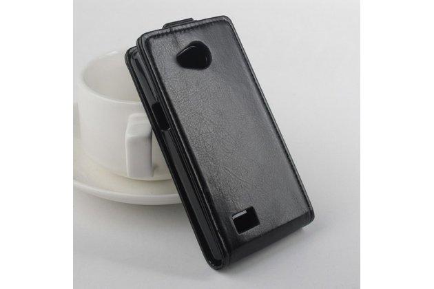 """Вертикальный откидной чехол-флип для lg joy h220n черный из натуральной кожи """"prestige"""" италия"""