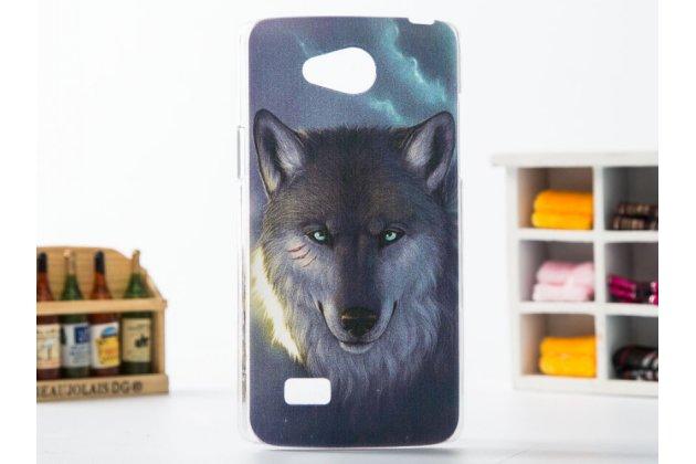 """Необычная из легчайшего и тончайшего пластика задняя панель-чехол-накладка для lg joy h220n """"тематика дикий волк"""""""