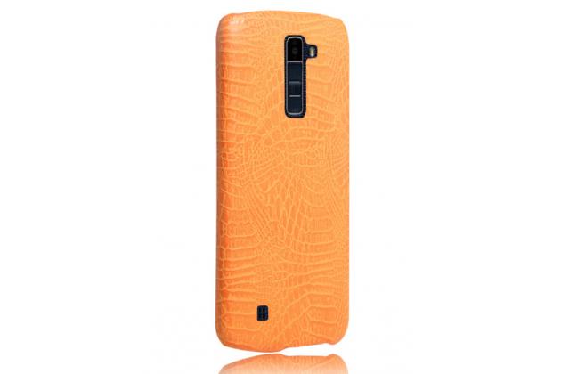 """Роскошная элитная премиальная задняя панель-крышка для lg k10 / m2 (k410 / k420n / k430n / k430 dual sim lte) 5.3""""  из лаковой кожи крокодила оранжевая"""