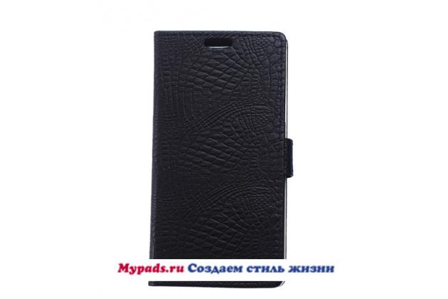 """Чехол-книжка с подставкой для lg k10 / m2 (k410 / k420n / k430n / k430 dual sim lte) 5.3"""" лаковая кожа крокодила черный"""